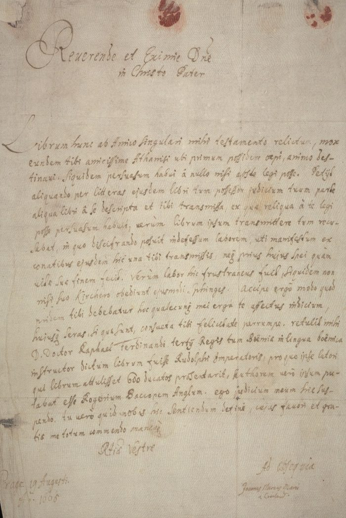 Close-up of Joannes Marcus Marci's letter