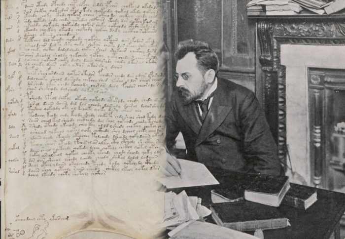 The Voynich Manuscript blended into an image of Wilfrid Voynich