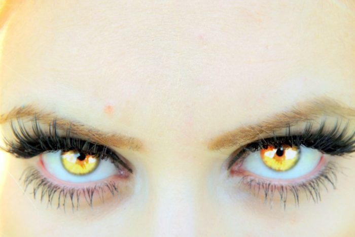 A pair of vampire-like bright yellow eyes