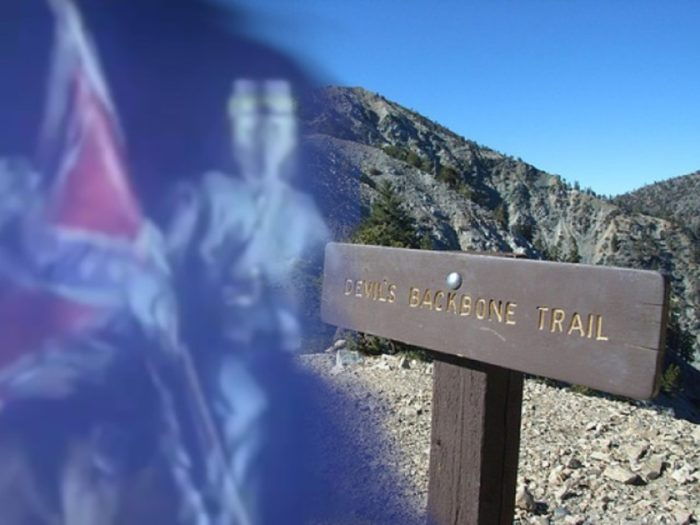 A TV reproduction of a ghost encounter blended into a sign for the Backbone Trail