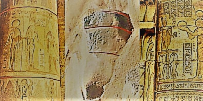 Comparison of an Egyptian column to rubble found on Mars