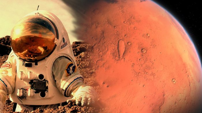 A depiction of an astronaut on Mars blended into a picture of Mars