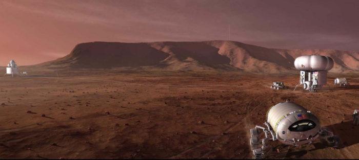 Artist's impression of robots on Mars