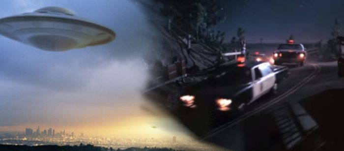 An image of a UFO blended into a still from the film Close Encounters of the Third Kind