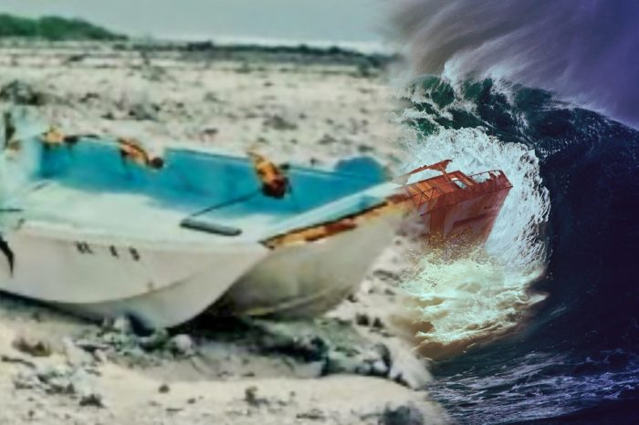 The Sarah Joe wrecked on a beach blended into a depiction of the vessel on a stormy sea