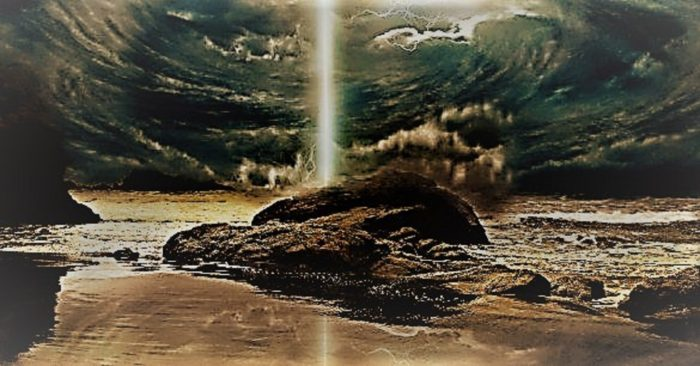 Depiction of a portal off the coast of Hawaii