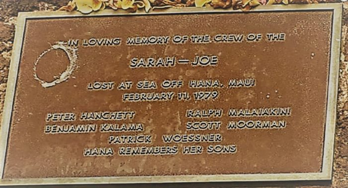 Plaque for the missing crew of the Sarah Joe