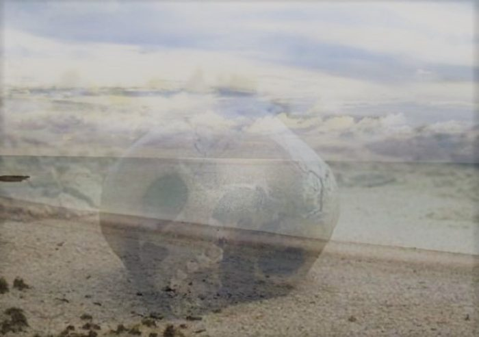 Picture of a skull superimposed on top of a lonely beach