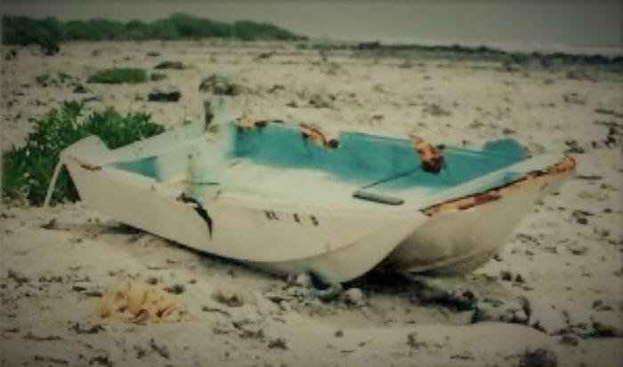 The Sarah Joe as it was discovered on an island beach