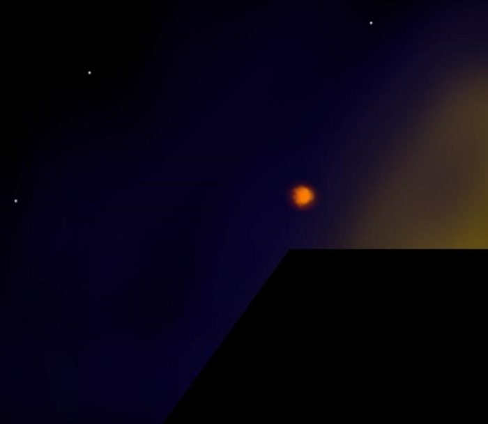 A depiction of a glowing orb in a night sky
