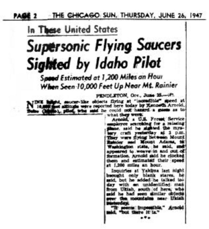 Newspaper report of the UFO sighting