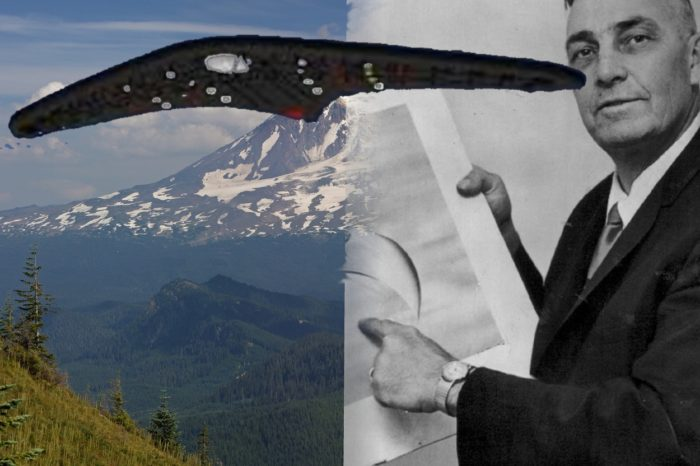 Mount Adams blended into a picture of Arnold holding a sketch of the craft