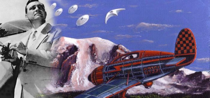 Kenneth Arnold and an artist's impression of the UFO sighting