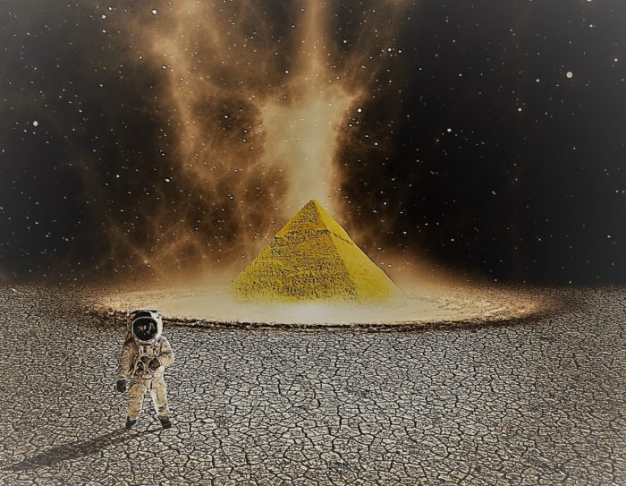 A depiction of an astronaut on the moon with a pyramid behind