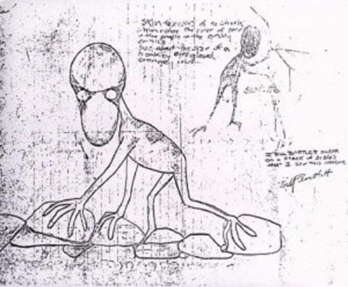 Bartlett's sketch of the Dover Demon