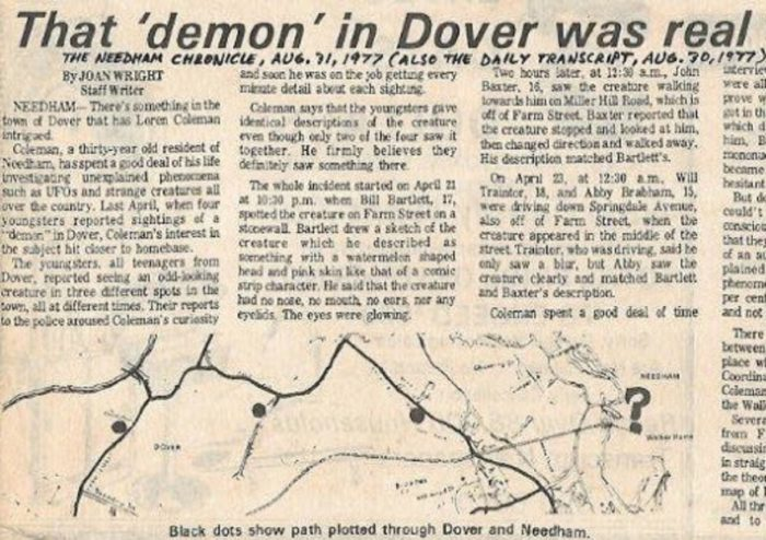 A newspaper clipping of the Dover Demon