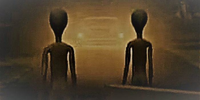 An image showing two alien shaped figures