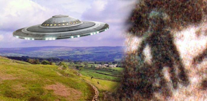 Image of a superimposed UFO over Yorkshire blended into a picture of an alleged alien
