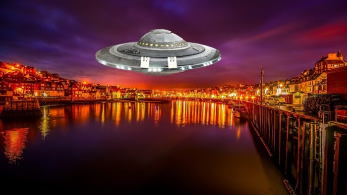 A depiction of a UFO over Yorkshire
