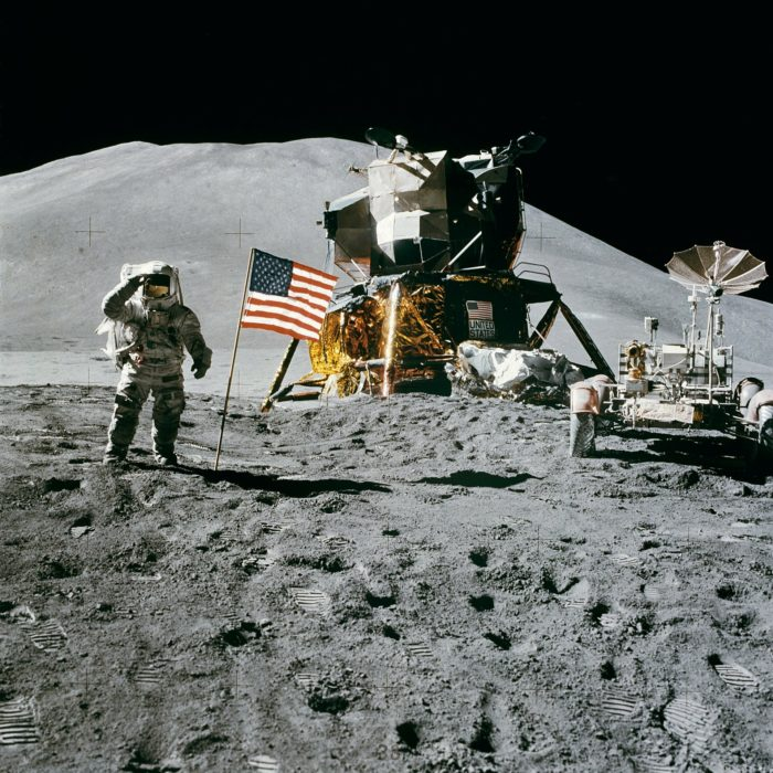 A picture of the Apollo astronauts on the moon
