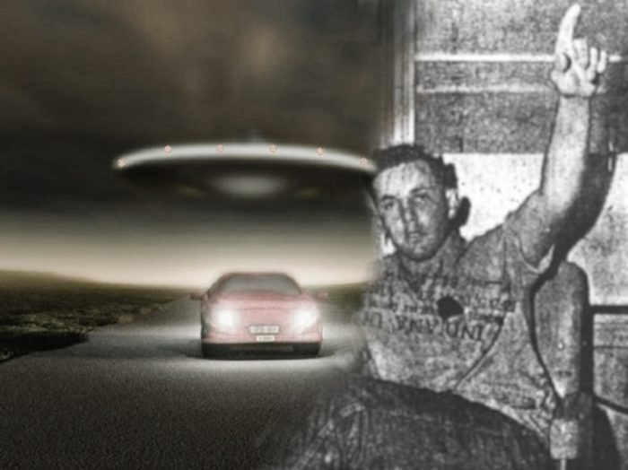 Ronnie Austin blended into a depiction of a UFO