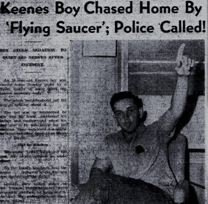 Newspaper clipping of the UFO car chase