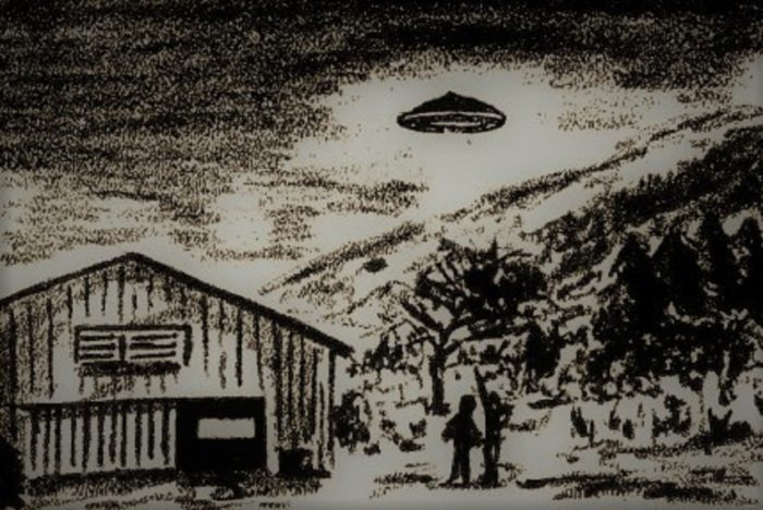 Artist's impression of Saunders UFO sighting