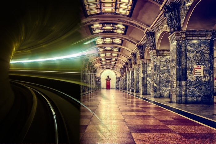 A picture of the Moscow underground blended into a futuristic picture of a underground rail tunnel