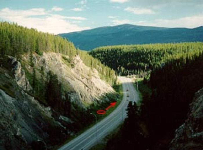 Location where the Klondike Highway UFO was witnessed