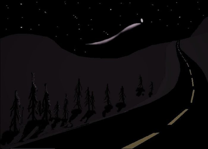Artist's impression of a UFO over Yukon in 1996