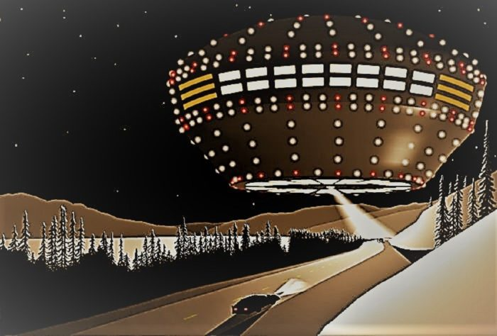 Artist's impression of a UFO over Yukon