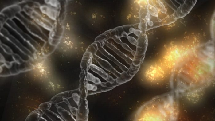 Picture of DNA strands with the cosmos blended behind it