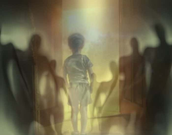 A depiction of a child staring into a doorway with strange shadow people superimposed over the top