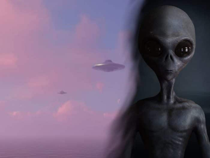 An image of a UFO blended into an image of a grey alien