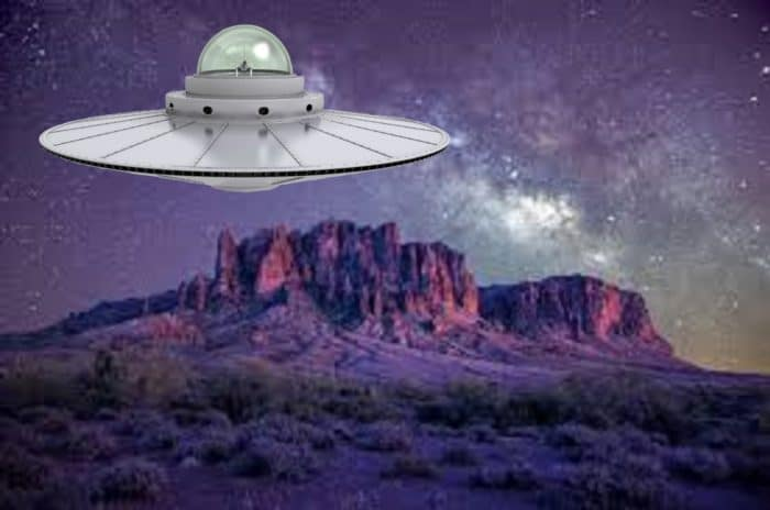 A depiction of a UFO over the Arizona desert at night