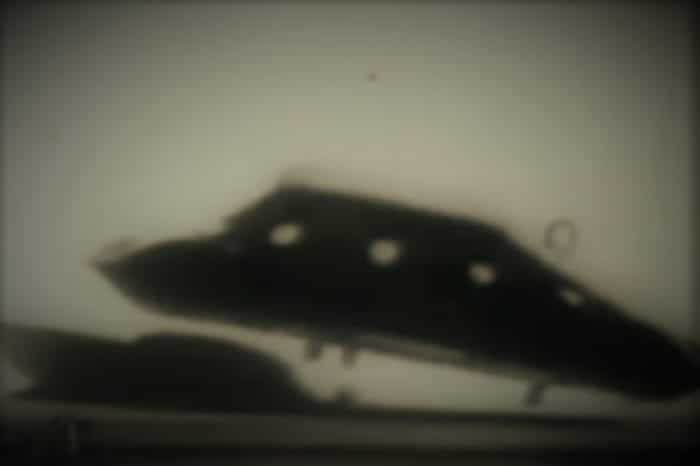 A picture showing an apparent UFO