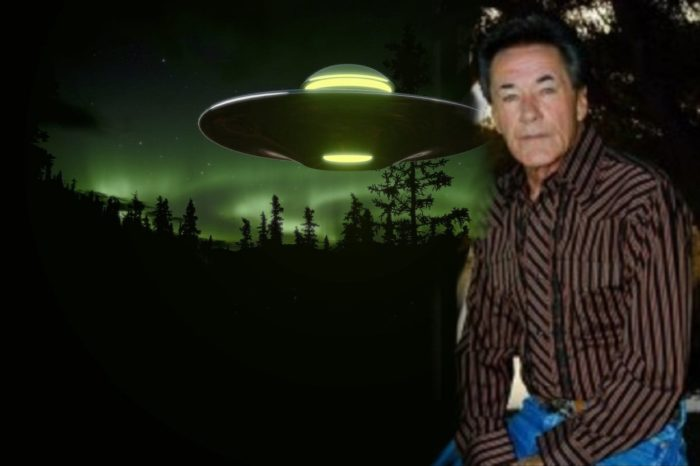 A picture of Johnny Sands blended into a hovering UFO image