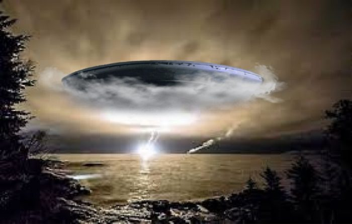 A depiction of a UFO emerging from clouds above a lake