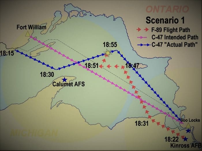 Map detailing the routes of the planes