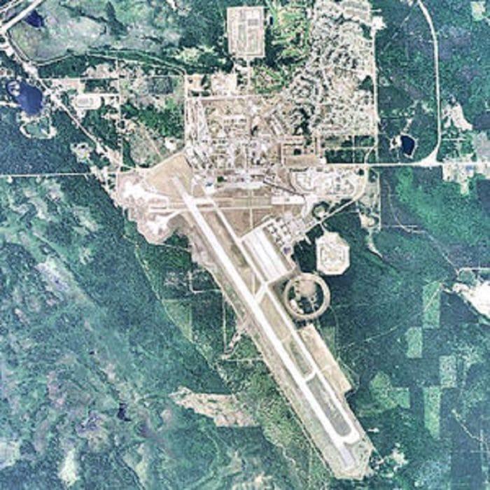 An aerial shot of Kinross Air Force Base