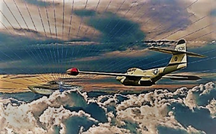 A depiction of a UFO with a military fighter approaching