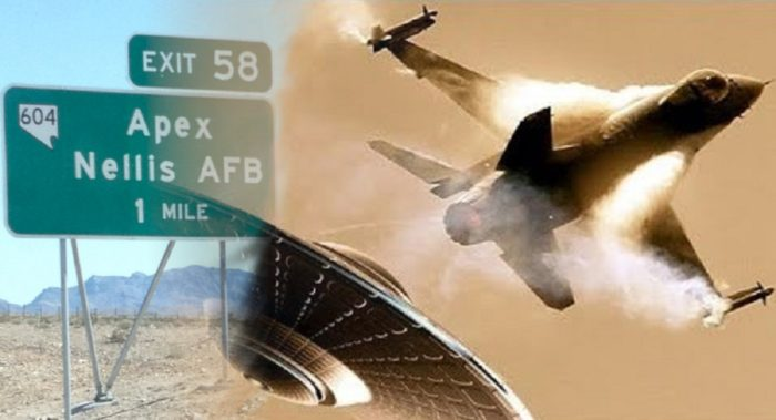 A blended image of Nellis Air Force Base sign and a UFO and jet midair