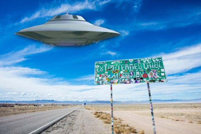A superimposed UFO over the Extraterrestrial Highway sign