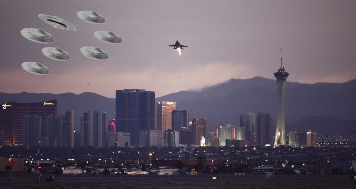 Superimposed fleet of UFOs over Las Vegas