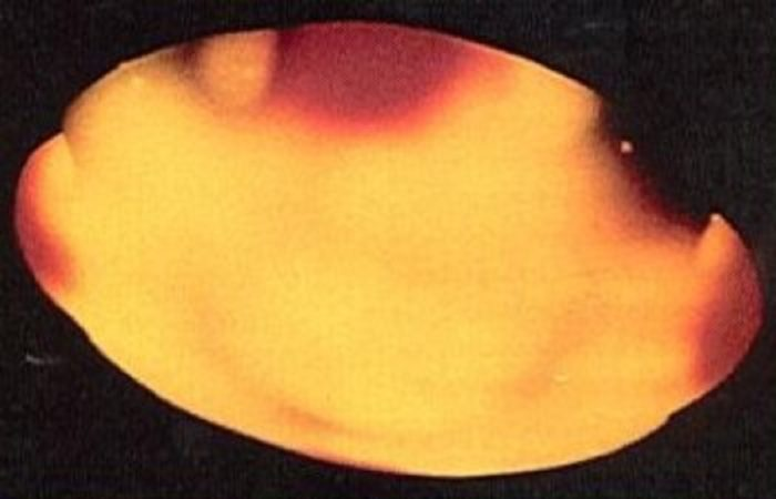 A close-up of an alleged UFO