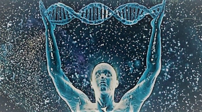 A space background with an enlightened person holding a strand of DNA above them