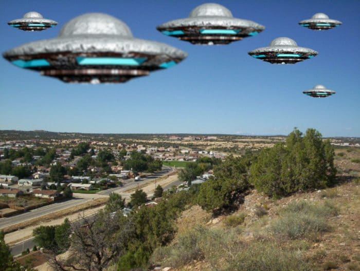 A depiction of multiple UFOs over New Mexico