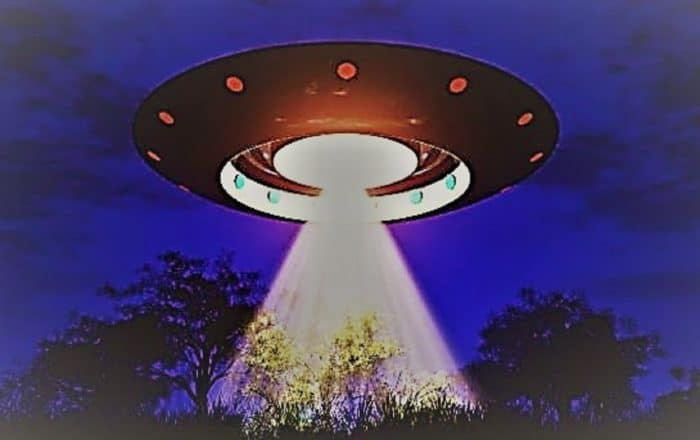 A depiction of a UFO over trees