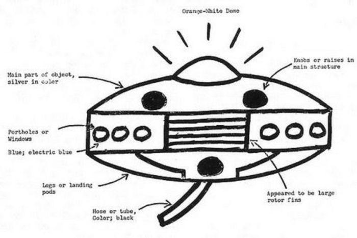 Artist sketch of the craft seen by Wheeler