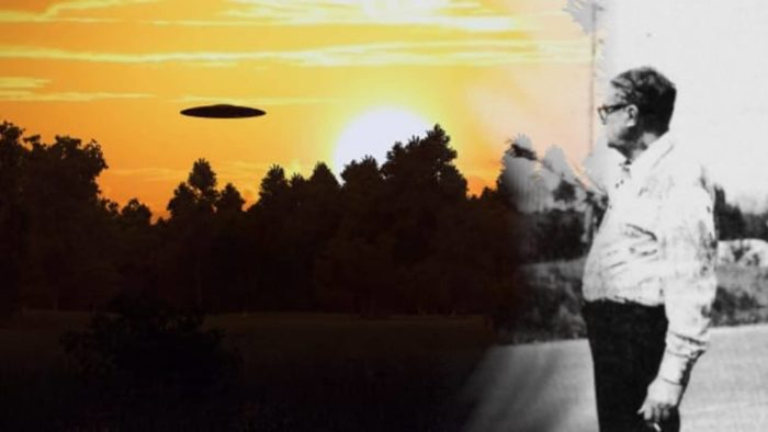George Wheeler blended into a picture of a UFO